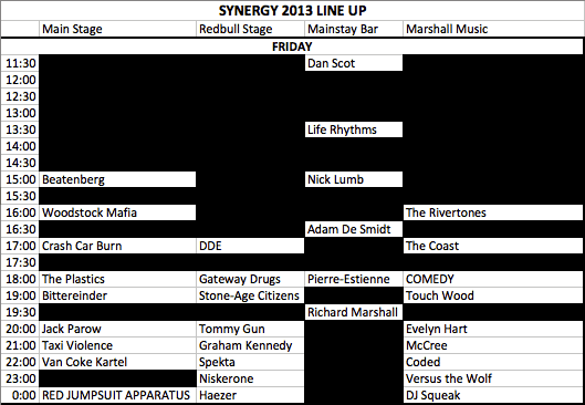 Synergy Live 2013 Schedule