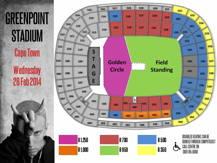 EMINEM Cape Town Seating and Price Plan