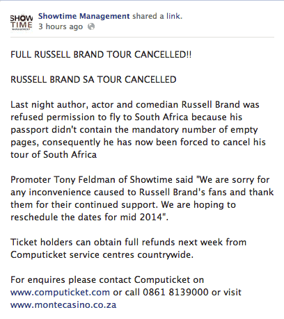 ShowTime Russel Brand Statement South Africa