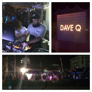 White Man DJing, Sign with Dave Q on it, People in night time garden