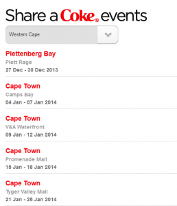 List of Coke events in Cape Town