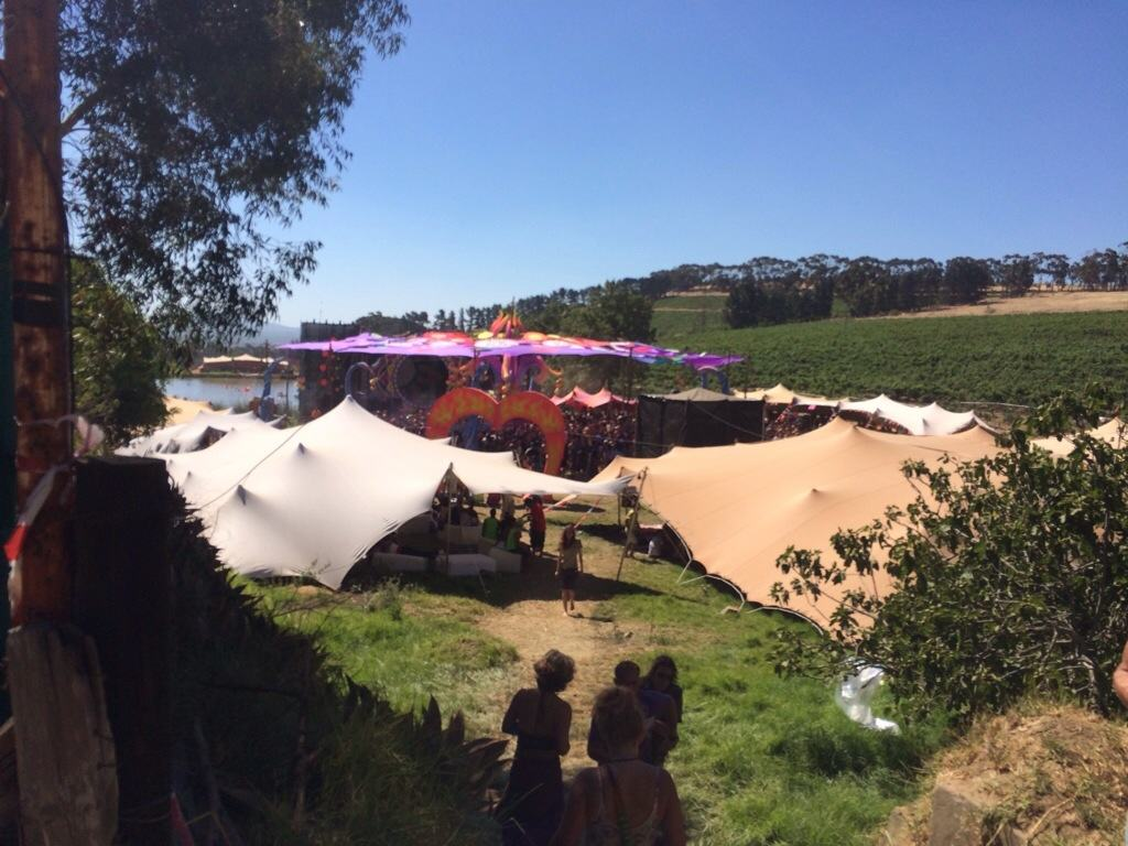 Tents in vineyard with dancefloor on a sunny day