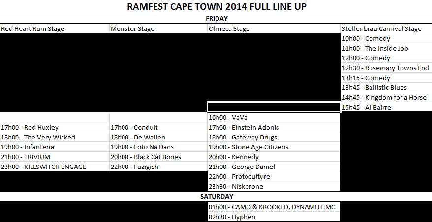 Ramfest Cape Town 2014 Line Up