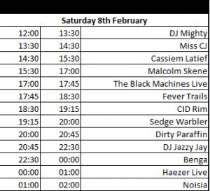 CTEMF 2014 Saturday Line UP