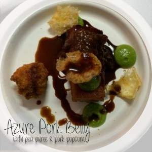 Azure Pork Belly with pea puree and pork popcorn