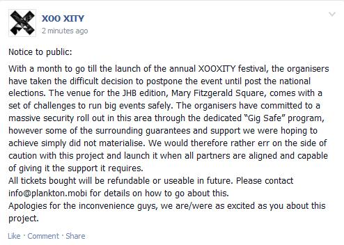 XooXity Postponed Notice
