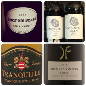 ernst gouws label, constantia glen label, tranquille haute cabriere label, dimerfontein label