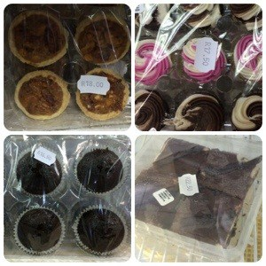 Collage of mini pecan pies, pink cupcakes, chocolate muffins and chocolate marshmellow pudding in selophane wrappings.