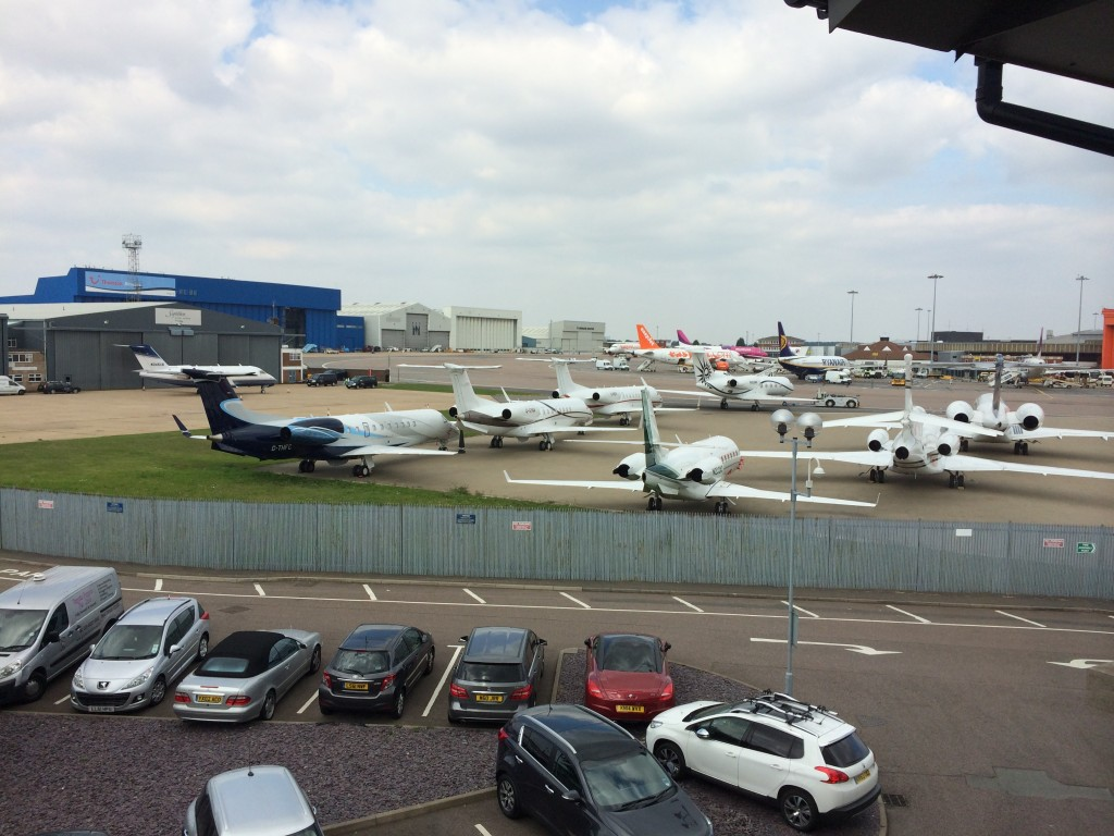 Aeroplanes parked at LUton Airport