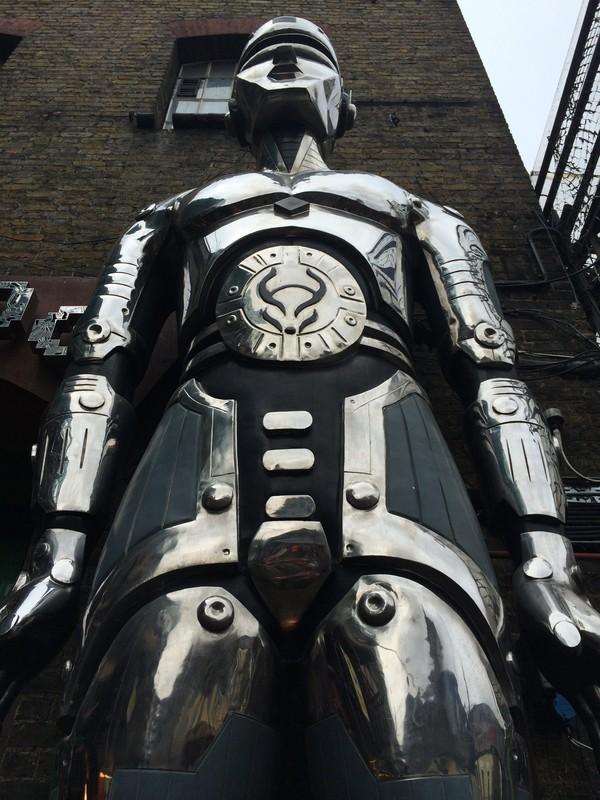 metal robot sculpture of cyberdog doorway entrance