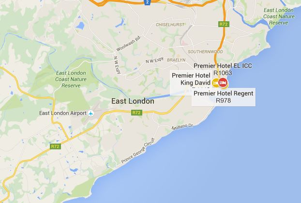 Premier Hotel - East London - Map