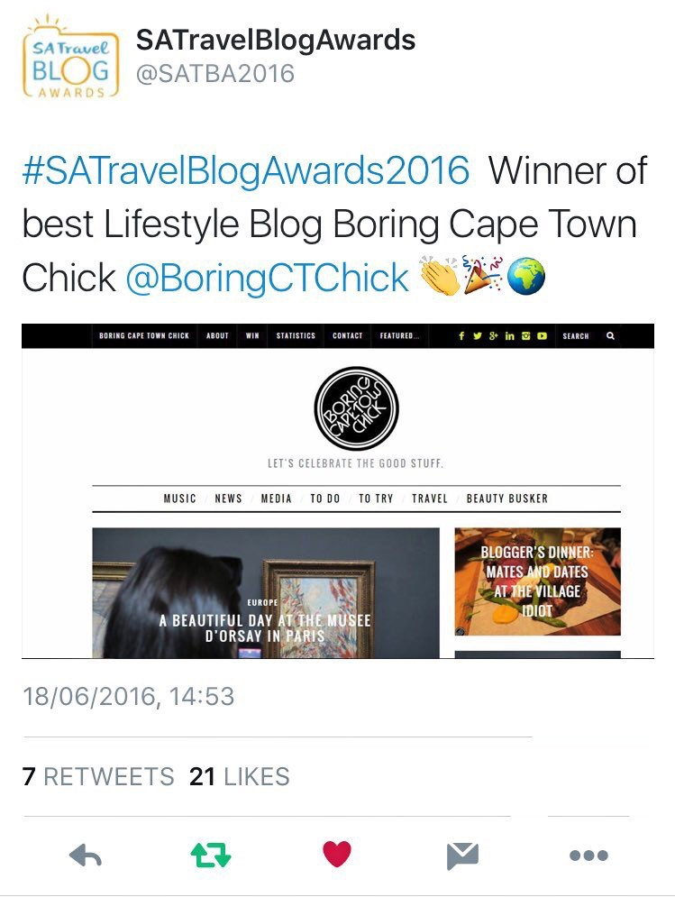 Best Lifestyle Blog - South African Travel Blog Awards 2016 - Boring Cape Town Chick
