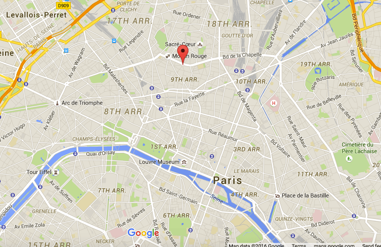 Map of Pigalle in Paris