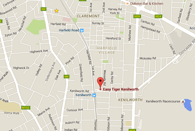 Map to Easy Tiger Kenilworth