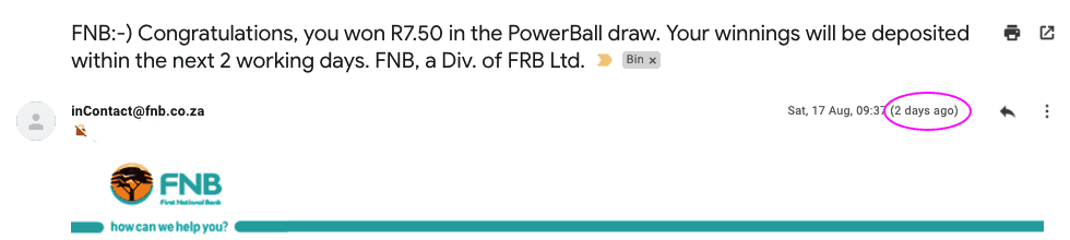 I Won R7.50 in the Powerball!